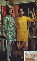 Pennys 68 ss 2 dresses (jsbuttons) Tags: yellow vintage print clothing mod 60s dress womens dresses catalog 1968 sixties pockets pennys fashions jcpenny