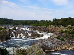 Great Falls - View of the falls (Mrs. Gemstone) Tags: park water river waterfall nationalpark day cloudy greatfalls potomac