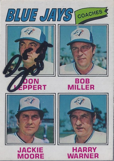 1977 O-Pee-Chee - Don Leppert #58 - (First base coach) Autographed Baseball Card (Toronto Blue Jays)