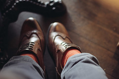 Loving You, Loving Me (matrianklw) Tags: orange leather fashion socks table shoes under catchy menswear brogues