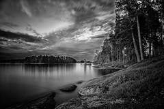 A Finnish moment (Barry_Madden) Tags: longexposure trees lake nature closeup suomi finland landscape blackwhite rocks cloudy dramatic lakeside kesämökki konnevesi korppi centralfinland