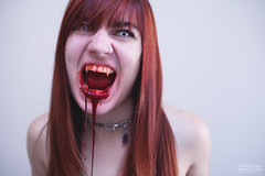 Bite Me (Marchioni Photography) Tags: red white halloween me photography scary blood eyes vampire zombie christina teeth creative manipulation haunted creepy sharp freak bite conceptual biteme creature dripping choker whiteeyes 2013 christinamarchioniphotography