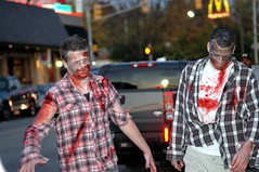 These zombies are happy The Walking Dead is renewed for a fifth season. (kennethkonica) Tags: red people white men halloween yellow america nikon midwest zombie indianapolis smiles makeup indiana nikond70s gore zombies mcdonald hoosiers goldenarches zombiewalk thewalkingdead tyreese broadripplezombiewalk