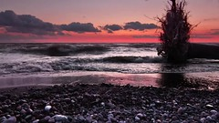 Lake Erie Sunset In Slow Motion - NY (Jovan Jimenez) Tags: new york pink sunset sky cloud lake ny motion water canon landscape video high rocks waves slow purple dynamic creative august tokina adobe ii pro erie rise cinematic range f28 hdr 116 slowmotion dx atx 1116 tokia 60d 1116mm dxii