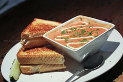 Tomato Bacon Bisque w/ Grilled Swiss Cheese (sheryip) Tags: food cheese tomato bacon yum swiss bisque grill delicious grilled atomic morgantown
