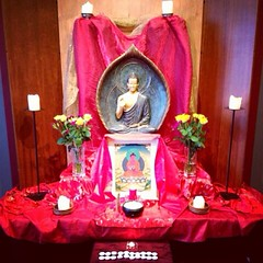 Dublin Buddhist Centre      This is our shrine for our Urban Retreat, with Amitabha as the patron Buddha.