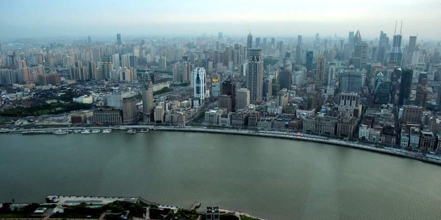 Панорама Шанхая с Запада на Восток