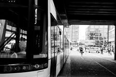 Parallel Lines (91JP) Tags: life bridge light shadow people blackandwhite bw berlin lines reflections germany 28mm tram riding figure alexanderplatz passenger crowds trollybus canonef28mm18usm canoneos600d