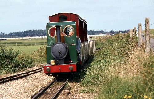 Train on the Wells Harbour Railway, Wells-Next-The-Sea, Norfolk, 13th. August 1984.