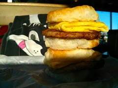 Sausage & egg biscuit (Morton Fox) Tags: food breakfast de fastfood mcdonalds claymont