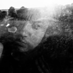 look back (Vasilis Amir) Tags: portrait blackandwhite selfportrait man motion male window monochrome self square landscape moving move transparency transparent  mygearandme vasilisamir