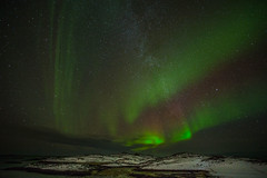 The Aurora Borealis (or the northern lights) under the milky way (Pewald) Tags: winter snow nature norway night stars landscape north auroraborealis tromsø milkyway musvær