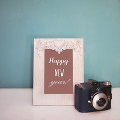 Happy new year <3 (@nna.Ph) Tags: camera new blue party italy white wall night canon happy 50mm heart year newyear frame 5d 18 capodanno happynewyear analogic 2014 afga 2013 5dmarkii