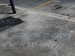 Smile at Somebody :) (mikecogh) Tags: graffiti chalk message pavement positive footpath keswick