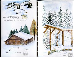 A Chtel - In Chtel (French Alps) (martinepittet) Tags: aquarelle journal zeta stillman croquis birn 2013 vision:text=0517 vision:outdoor=0954