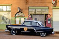 1953 Ford Customline Fordor Sedan in front of old gas station - Lowell ghost town, Bisbee, Arizona .. (edk7) Tags: street old arizona usa building ford architecture sedan structure gasstation ghosttown bisbee gaspump 1953 lowell fordor customline cochisecounty 2013 d3200 edk7 advertisingmarkings pseudocopcar