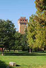 Ornate tower ..... (Halliwell_Michael ## More off than on this week #) Tags: autumn trees italy history castles towers lakegarda lazise crenelation castlewalls 2013 scaligercastle nikond40x