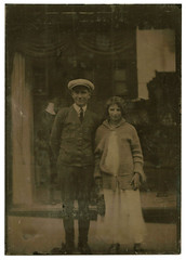 Shop Window Couple (WonderfullyStrange) Tags: 1920s mannequin window shop buildings reflections mainstreet couple antique storefront tintype ferrotype twenties early20thc