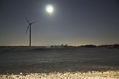 Wind Turbine and Moon (Light Brigading) Tags: iris moon bus film field wisconsin hall timelapse shoot farm lisa joe madison lane revolution moline dusan brusky olb harminc occupyriverwest overpasslightbrigade
