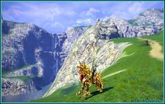 Ma monture de feu ... (Tim Deschanel) Tags: horse man game cheval rising tim magic online homme jeu tera magie deschanel castanic pourfendeur tichanel