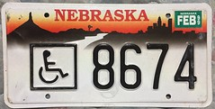 NEBRASKA  1999 ----HANDICAP LICENSE PLATE (woody1778a) Tags: nebraska usa registrationplate numberplate licenseplate mycollection myhobby collection collector alpca1778