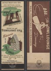 Matchbook: Owl's Grill/Owl Lounge/Zeller's (Ohio County Public Library) Tags: wheelingwv wheeling billlias owllounge zellers owlsgrill zellerssteakhouse 15thstreet marketstreet universalmatchcorp universalmatchcorporation matchbook matchbooks matches
