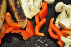 Friday Fry-up (Martin Pettitt) Tags: dslr burystedmunds uk mushrooms cooking suffolk nikond90 food indoor blackpudding peppers sausages fryup september autumn project366 afsdxvrzoomnikkor18105mmf3556ged