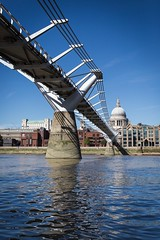 Millennium Bridge  London, UK (Tom Weightman) Tags: millenium bridge london uk river thames reflections st pauls cathedral blue sky city architecture