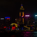Hong Kong light show with a traditional boat