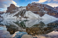 Reflections (MarcusTeee) Tags: reflections water lake sunset canada alberta moraine banff symmetric symmetrical