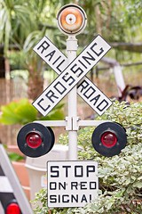 rail road crossign sign and signals (DigiDreamGrafix.com) Tags: railroad sign rail signal road rr travel business traffic isolation light freight train horn transport warn caboose transportation choo pole stripe locomotive danger silhouette chime vacation profile isolated cross caution red flash safe siren bell barricade safety isolate ticket track
