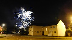 The Fifth Of November (Deb Simpkins) Tags: firework bonfire night fifth of november 5th sky light trails flash scene flitwick bedfordshire 2016 autumn house home street road nikon l840 blue white