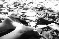 Earned Relax (Phoenix_1889) Tags: piedi feet shoes relax blackwhite girl outdoor ragazza riposo