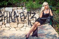 Θύρα 13 (DZ-fotografia) Tags: athens gate 13 panathinaikos likavittos lycabettos black pvc long dress blonde hair legs heels sexy gloves
