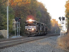 Norfolk Southern Chicago Line / MP 458 West (codeeightythree) Tags: ns norfolksouthernchicagoline norfolksouthern norfolksouthernrailroad lightenginemove lightengines signals rollingprairieindiana rollingprairie indiana fall november railroad trains train transportation