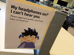Day 293: Please Don't Startle the Researchers (quinn.anya) Tags: headphones sign focus email resesarch bids ucberkeley day293 525600minutes