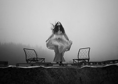 What Once Was (Maren Klemp) Tags: fineartphotography fineartphotographer darkart blackandwhite monochrome selfportrait portrait woman chairs decay vintage fog mist outdoors nature naturallight dress windy surreal conceptual ethereal evocative expressive nostalgic painterly movement