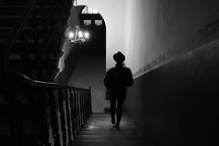 noir city (i k o) Tags: filmnoir mood city night urban indoor blackandwhite bw stairs silhouette hat fujifilmxe1 xf18mmf2r