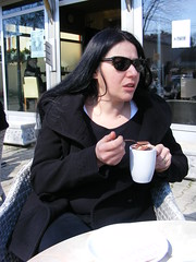 Coffee or chocolate??? Kostajnica Bosnia (seanfderry-studenna) Tags: nina kostajnica bosna bosnia republika srpska black coat clothes sunglasses long dark hair cup coffee chocolate table seated sitting seat chair cafe caffe kave brunette face pink lips throat neck woman female girl lady girlfriend fiancee wife married outdoor outisde people person candid public unposed beauty stunning gorgeous beautiful cute serb talking talk speaking conversation balkans balkan european europe teeth dents