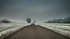 the directly path to wintertime (bocero1977) Tags: path landscape winter nature germany outdoor weather cold light frozen trees blue colors road street meadow way clouds trail sky green straight frost wide ice