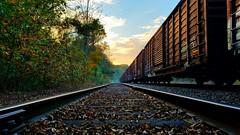 LINE WALKING BLUES (BLACK VOMIT) Tags: graffiti boxcar boxcars box car cars freight train tracks sunset autumn fall richmond va virginia rva