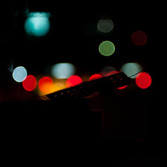 Plaster sticked on bokeh (Thibaud Saintin) Tags: night thailand trafficlight cabin nightlights traffic bangkok taxi plaster windshield krungthep totallythailand