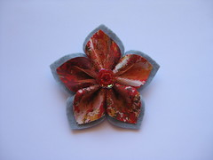 Gray Flower Brooch (ONE by one) Tags: flower handmade brooch gray fuxico brooches 2013 onebyone