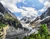 Mer de Glace Glacier at Mont Blanc, France (` Toshio ') Tags: mountain france tree clouds landscape europe european glacier chamonix europeanunion montblanc frenchalps merdeglace scurve toshio seaofice