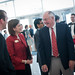 Former NC State Chancellor Jim Woodward greets Eva Feucht, director of the Park Scholarships program at NC State.