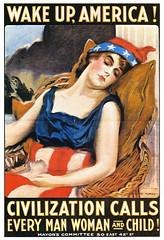 Wake Up, America! (MCAD Library) Tags: posters prints mcad worldwari19141918 allegories warposters jamesmontgomeryflagg allegoricalfigures mcadlibrary artoftheposter sleepinart graphicdesignandillustration postersamerican flagsinart