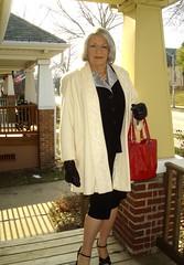 Laurette Victoria (Laurette Victoria) Tags: coat gloves laurette laurettevictoria outdoors outside milwaukee purse wisconsin suit silverhair woman porch