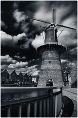 "Molen ""De Noord"" (Peter Witberg) Tags: blue light portrait sky bw white black art water netherlands windmill clouds licht nikon blauw day outdoor wolken zwart wit molen schiedam d7100"