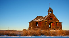 snow day (Flint Roads) Tags: old usa abandoned field rural sunrise washington decay bluesky faded wa forsaken schoolhouse govan deteriorate