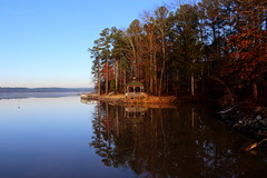 Weather forecast @  Cold and clear (Sam0hsong) Tags: trees winter reflections day lakes northcarolina clear